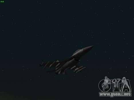 F-16C Warwolf para GTA San Andreas vista hacia atrás