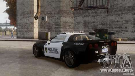 Chevrolet Corvette LCPD Pursuit Unit para GTA 4 vista lateral