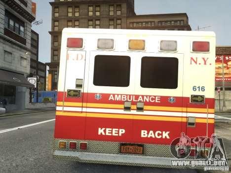 Ford F-350 Ambulance FDNY para GTA 4 Vista posterior izquierda