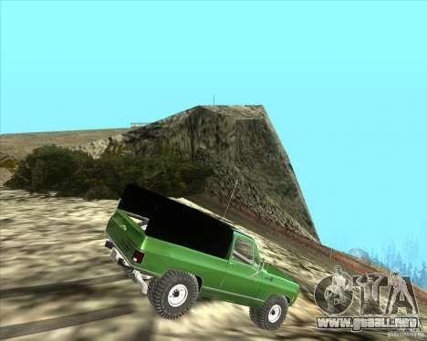 Chevrolet K5 Ute Rock Crawler para GTA San Andreas vista posterior izquierda