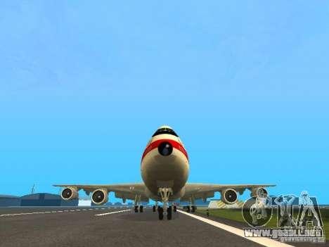 Boeing 747-100 para GTA San Andreas vista hacia atrás