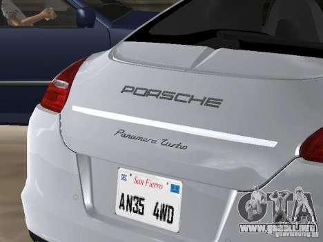 Porsche Panamera Turbo Tunable para GTA San Andreas vista hacia atrás