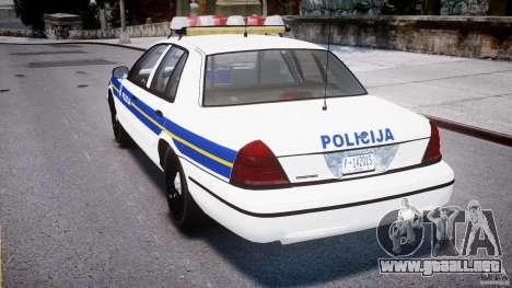 Ford Crown Victoria Croatian Police Unit para GTA 4 visión correcta