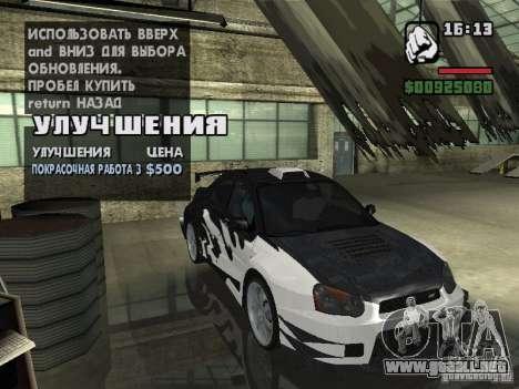 Subaru Impreza Wrx Sti 2002 para GTA San Andreas vista posterior izquierda