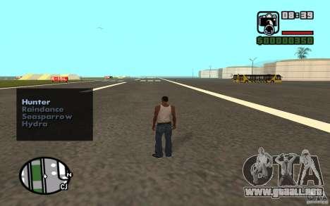 Apoyo aéreo cuando ataca. para GTA San Andreas