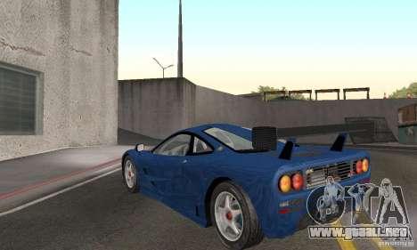 Mclaren F1 GTR (v1.0.0) para GTA San Andreas vista posterior izquierda