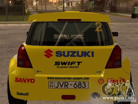 Suzuki Swift Rally para GTA San Andreas vista posterior izquierda