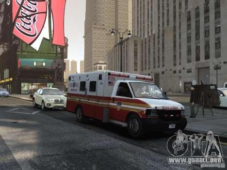 Chevrolet Ambulance FDNY v1.3 para GTA 4 vista hacia atrás