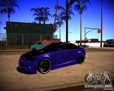 BMW M3 E92 Drift Version para GTA San Andreas vista posterior izquierda