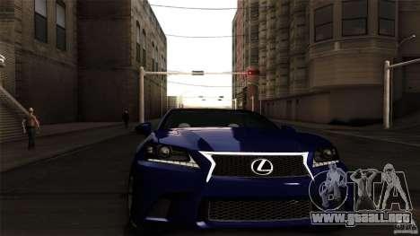 Lexus GS350F Sport 2013 para GTA San Andreas vista posterior izquierda