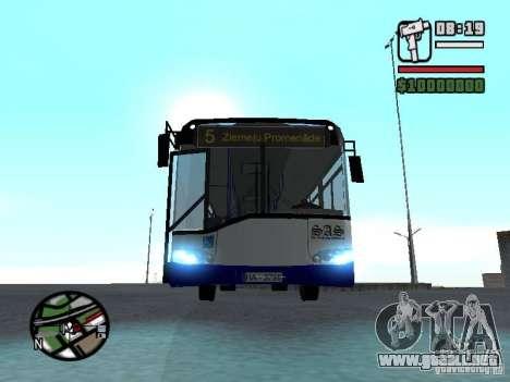 Solaris Urbino 12 para GTA San Andreas vista hacia atrás