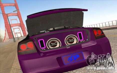 Dodge Charger SRT 8 para GTA San Andreas vista posterior izquierda
