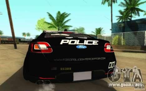 Ford Taurus 2011 LAPD Police para la visión correcta GTA San Andreas