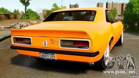 Chevrolet Camaro Z28 1969 para GTA 4 Vista posterior izquierda
