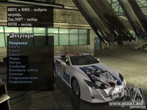 Lexus LFA Custom para visión interna GTA San Andreas