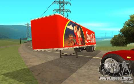 El semirremolque para Peterbilt 379 Custom Coca  para GTA San Andreas vista posterior izquierda