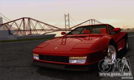 Ferrari Testarossa 1986 para GTA San Andreas vista hacia atrás