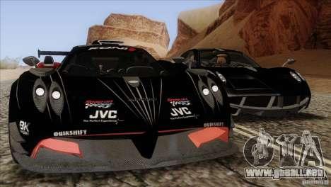 Pagani Zonda R para GTA San Andreas vista posterior izquierda