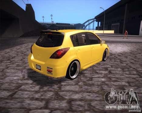 Nissan Versa Tuned para GTA San Andreas vista posterior izquierda