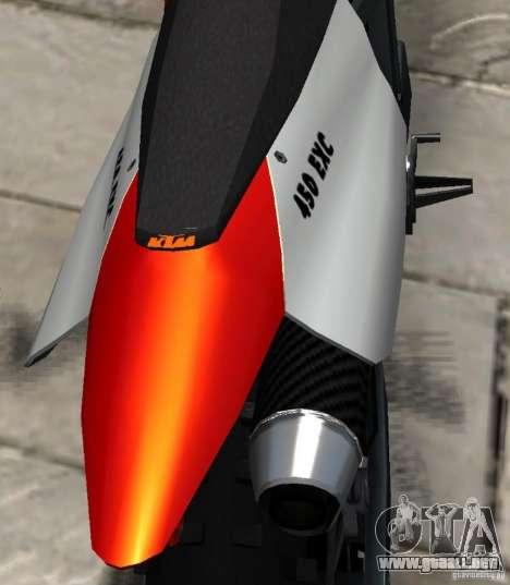 KTM EXC 450 para GTA 4 vista lateral