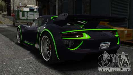 Porsche 918 RSR Concept para GTA 4 Vista posterior izquierda