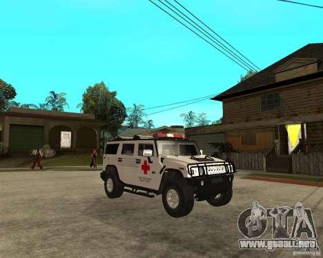 AMG H2 HUMMER - RED CROSS (ambulance) para la visión correcta GTA San Andreas