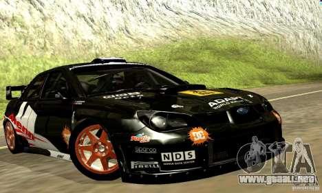 Subaru Impreza WRC 2007 para visión interna GTA San Andreas
