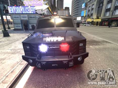 Lenco BearCat NYPD ESU V.1 para GTA 4 vista interior