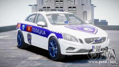 Volvo S60 Macedonian Police [ELS] para GTA 4 vista hacia atrás