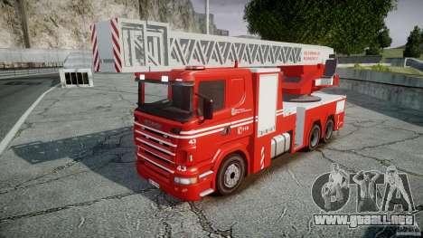 Scania Fire Ladder v1.1 Emerglights blue-red ELS para GTA 4 Vista posterior izquierda