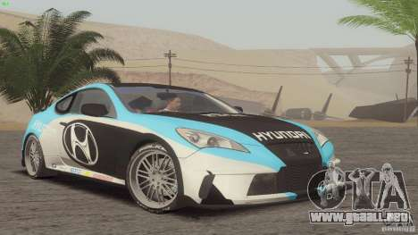 Hyundai Genesis Tunable para GTA San Andreas vista hacia atrás