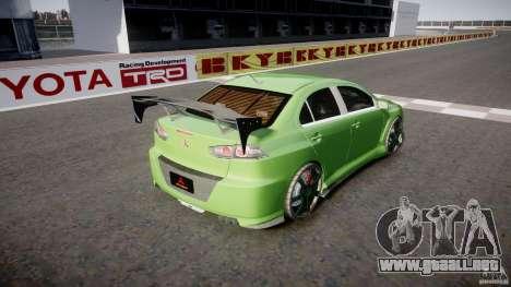 Mitsubishi Lancer Evolution X Tuning para GTA 4 Vista posterior izquierda
