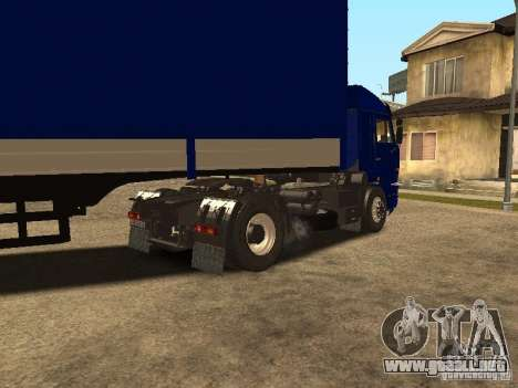 Camioneros KAMAZ 5460 2 para GTA San Andreas vista posterior izquierda