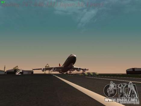 Boeing 747-446 Japan-Airlines para la vista superior GTA San Andreas