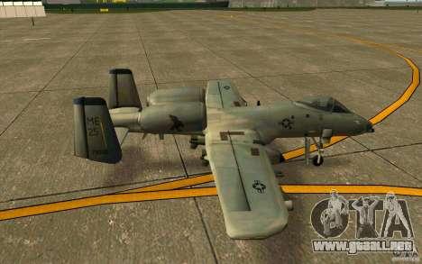 A-10 Warthog para GTA San Andreas vista posterior izquierda