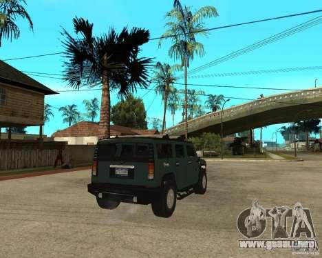 AMG H2 HUMMER SUV para GTA San Andreas vista posterior izquierda