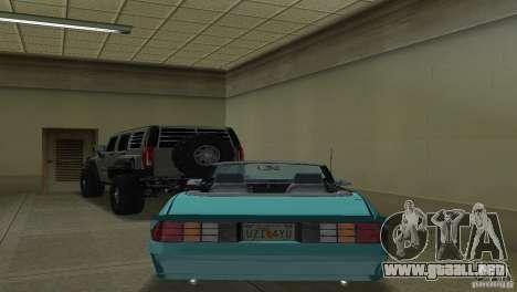 Chevrolet Camaro Convertible 1986 para GTA Vice City visión correcta