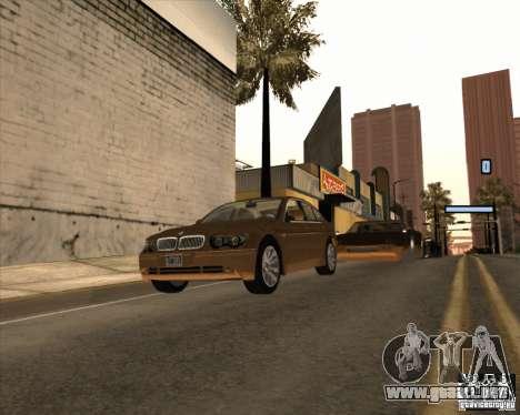 BMW 760i para GTA San Andreas vista posterior izquierda