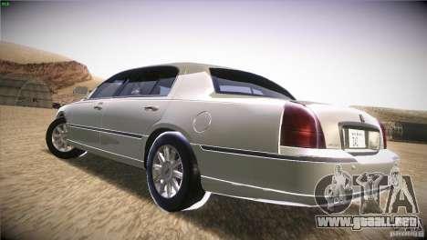 Lincoln Towncar 2010 para GTA San Andreas vista posterior izquierda