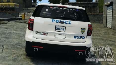 Ford Explorer NYPD ESU 2013 [ELS] para GTA 4 vista desde abajo