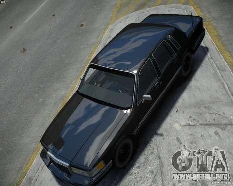 Lincoln Towncar 1991 para GTA 4 visión correcta