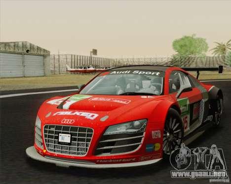 Audi R8 LMS v2.0.1 para GTA San Andreas vista posterior izquierda