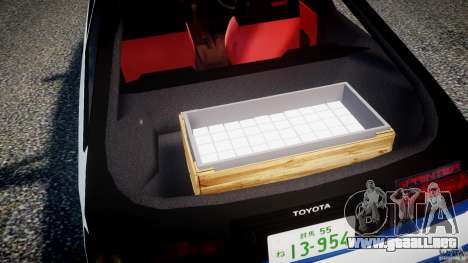 Toyota Trueno AE86 Initial D para GTA 4 vista desde abajo