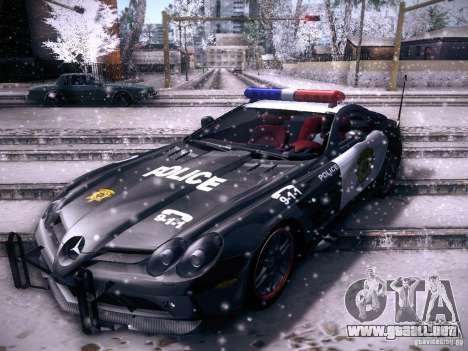 Mercedes-Benz SRL 722 Police para GTA San Andreas vista posterior izquierda