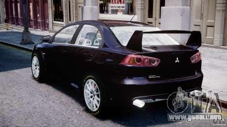 Mitsubishi Lancer X para GTA 4 vista lateral