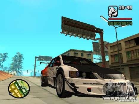 Mitsubishi Lancer Evo IX SpeedHunters Edition para GTA San Andreas vista hacia atrás