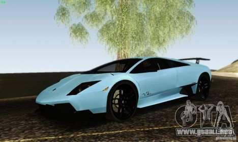 Lamborghini Murcielago LP 670-4 SV para GTA San Andreas vista posterior izquierda