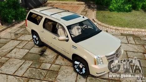 Cadillac Escalade ESV 2012 para GTA 4 vista desde abajo