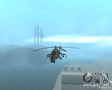 Mi-24P para GTA San Andreas vista posterior izquierda