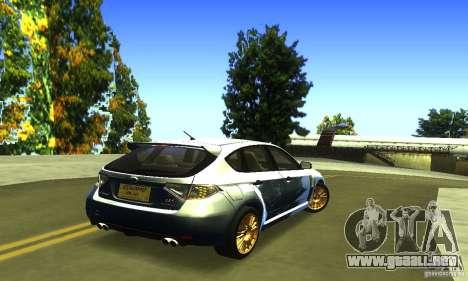 Subaru Impresa WRX STI 2008 para GTA San Andreas vista posterior izquierda